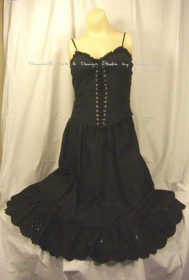 Victorias Secret Laceup Gothic Black Corset Bustier Eyelet Dress