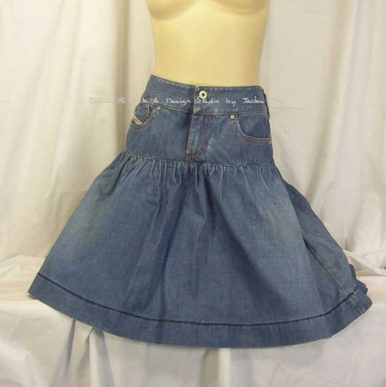 Diesel Jeans Ruffle Mini Skirt Distressed Large