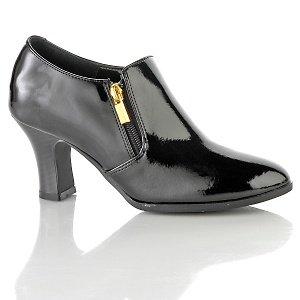 AJ. Valenci Black Patent Leather Comfort Shootie Size 8W # 251-993