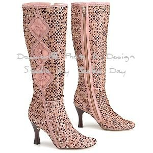 MIKALA TALL Shaft PINK and TAN Braided Woven Faux-Hair Boots 8.5M