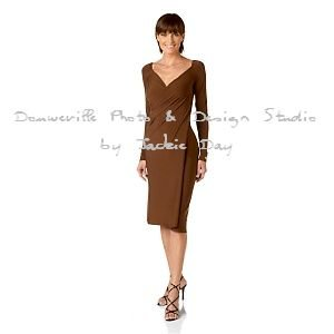 LUKASTYLE SWRAP Techno Jersey Long Sleeve Dress VANILLA Large