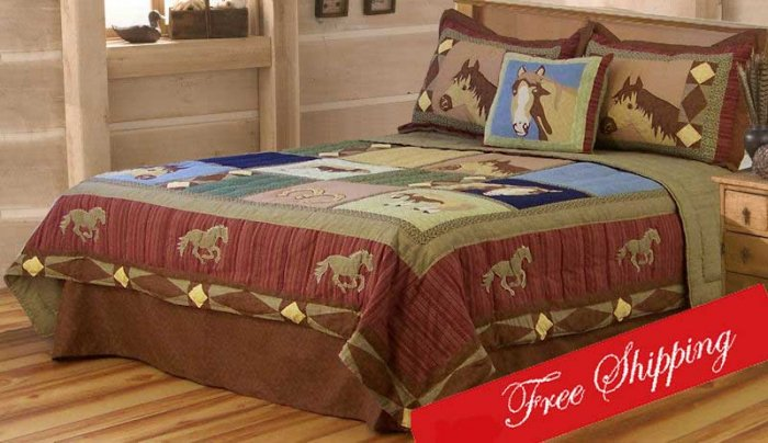 7pc queen bed in a bag wild horses western cowboy bedding set. Black Bedroom Furniture Sets. Home Design Ideas