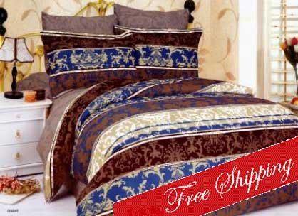 PAMIR French Toile Blue Brown Modern Floral Duvet Bedding