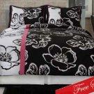 4PC Retro Twiggy Black & White Floral Queen Comforter Set CS6243BWQN