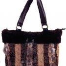 NATASHA Black Brown Faux Fur Handbag Medium