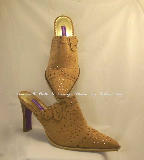 Suzanne SOMERS TAN Faux Suede Laser Cut Studded Mule 11M