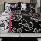 4PC RETRO Twiggy Black & White Floral FULL Comforter SetCS6243BWFU