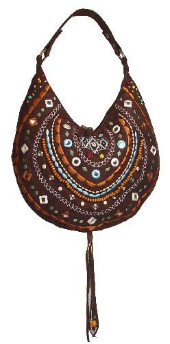Sexy Brown Chocolate Bohemian Hobo Beaded Suede Purse