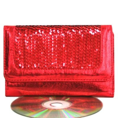Sexy Trendy Hot Red Sequin Clasp Purse Mini Wallet