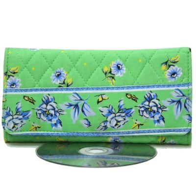 Meadow Green Quilted Clasp Purse Checkbook Wallet