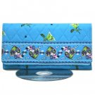 Turquoise Aqua Quilted Checkbook Wallet Clasp Purse