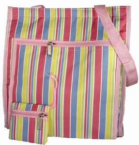 Spring Yellow, Pink, and Blue Stripes Striped Purse Tote