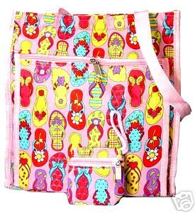 Cute and Fun Pink Flip Flop Diaper Bag Beach Bag Tote Purse
