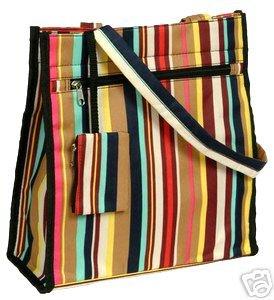 Trendy Multi Colored Stripe Coral Handbag Tote Diaper Bag