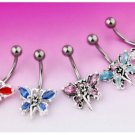 Butterfly Fairy Navel Belly Ring Blue Ice