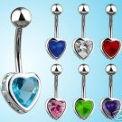 Classy Heart Belly Navel Ring Blue Ice