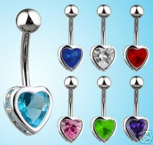 Classy Heart Belly Navel Ring Pink Ice