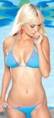 2 PC Bikini Swim Suit Aqua Blue with Neon Pink Trim