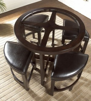 NEW MODERN ROUND COUNTER HEIGHT DINING TABLE SET STOOLS