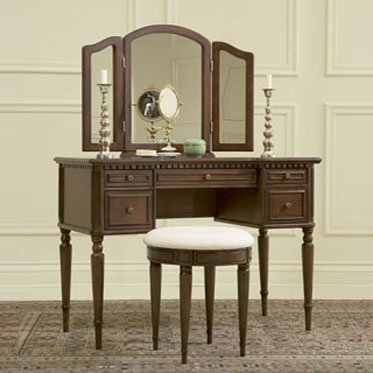 """Warm Cherry"" Vanity, Mirror & Stool Bedroom Furniture"
