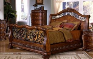 WALNUT FINISH QUEEN SIZE SLEIGH BED BEDROOM FURNITURE