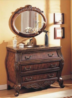 SINGLE SINK VANITY CABINET GRANITE BATHROOM FURNITURE