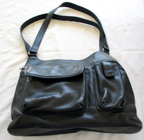 FOSSIL Black Leather Purse Handbag