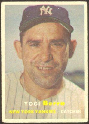 NEW YORK YANKEES YOGI BERRA 1957 TOPPS # 2 G+/VG