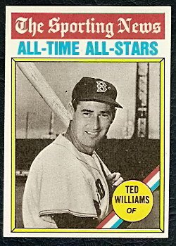 BOSTON RED SOX TED WILLIAMS ATG 1976 TOPPS # 347 NR MT