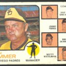 SAN DIEGO PADRES DON ZIMMER & COACHES 1973 TOPPS # 12 G