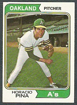Oakland Athletics Horacio Pina 1974 Topps Baseball Card 516 ex mt