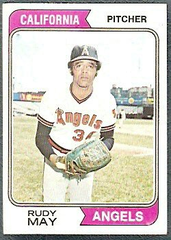 CALIFORNIA ANGELS RUDY MAY 1974 TOPPS # 302 EX