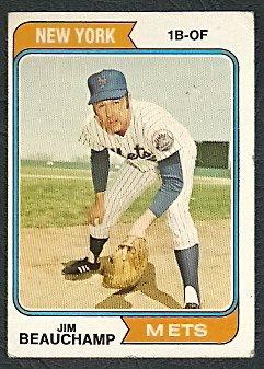 NEW YORK METS JIM BEAUCHAMP 1974 TOPPS # 424 VG