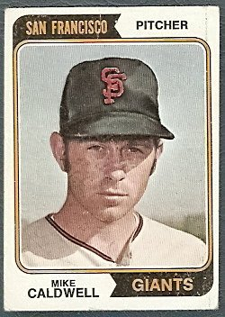 SAN FRANCISCO GIANTS MIKE CALDWELL 1974 TOPPS # 344 G/VG