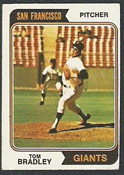 SAN FRANCISCO GIANTS TOM BRADLEY 1974 TOPPS # 455 VG