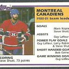 MONTREAL CANADIENS TEAM LDRS STEVE SHUTT 81/82 TOPPS # 56 NM