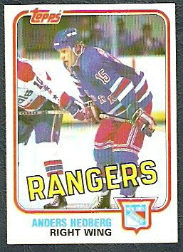 NEW YORK RANGERS ANDERS HEDBERG 81/82 TOPPS # 98 NR MT/MT