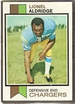 SAN DIEGO CHARGERS LIONEL ALDRIDGE 1973 TOPPS # 174 VG