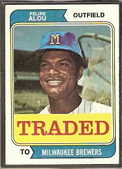 MILWAUKEE BREWERS FELIPE ALOU 1974 TOPPS # 485T G/VG