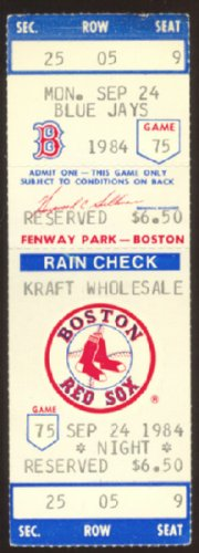 1984 BLUE JAYS RED SOX FULL FENWAY TICKET 4 HR BOGGS 3 HITS