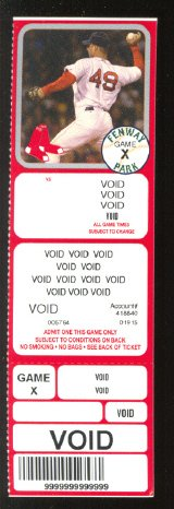 BOSTON RED SOX TIM WAKEFIELD 2004 VOIDED FULL TICKET