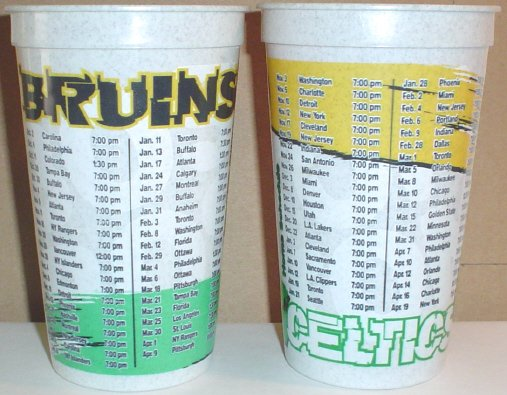 COLORFUL BOSTON BRUINS BOSTON CELTICS FLEET CENTER SCHEDULE CUP BOSTON GARDEN