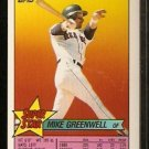 BOSTON RED SOX MIKE GREENWELL 1989 TOPPS SUPERSTAR STICKER #16 W/ TEXAS RANGERS PETE INCAVIGLIA #249