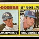LOS ANGELES DODGERS ROOKIE STARS BILL SINGER JIM CAMPANIS 1967 TOPPS # 12 G