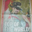BOSTON RED SOX WIN 2004 WORLD SERIES COMPLETE NEWSPAPER WITH JASON VARITEK PHOTO