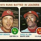 RBI LDRS CINCINNATI REDS JOHNNY BENCH CHICAGO WHITE SOX DICK ALLEN 1973 TOPPS # 63 EX/EM