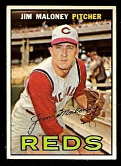 CINCINNATI REDS JIM MALONEY 1967 TOPPS # 80 EX/EM