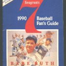 1990 SEAGRAMS 7 WHISKEY BASEBALL GUIDE NEW YORK YANKEES BABE RUTH
