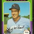 KANSAS CITY ROYALS LINDY McDANIEL 1975 TOPPS # 652 G/VG