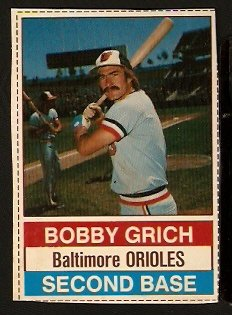 BALTIMORE ORIOLES BOBBY GRICH 1976 HOSTESS # 13